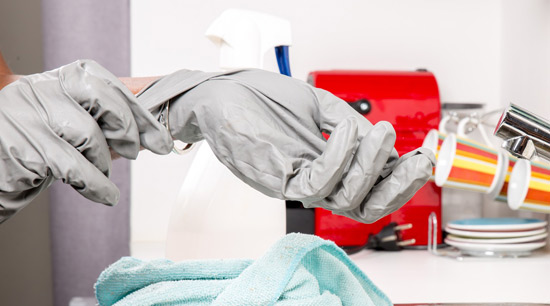 Carpet mold cleaning with protective clothing