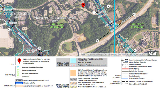 FEMA flood risk assessment map Alpharetta Ga