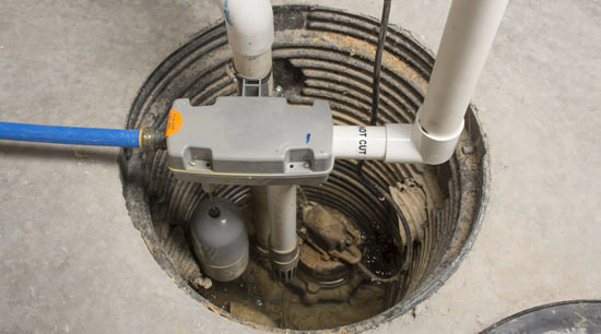 Sump pump installed in home basement