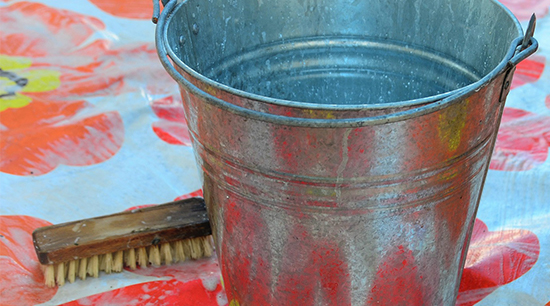 Scrub brush and bucket for mold remediation